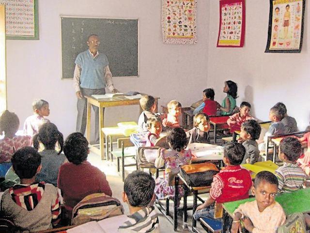 The school-- Shakuntalam Shiksha Kendra -- run by the NGO in Sector 23.(HT Photo)