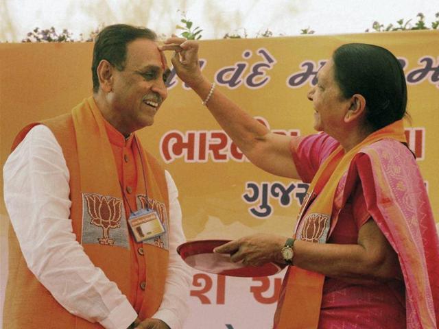 File photo of Vijay Rupani with the former Gujarat chief minister Anandiben Patel in Gandhinagar.