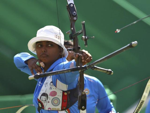 Depika Kumari of India during the archery team pre-quarterfinal  against Colombia. India won 205-197 against the Colombians.