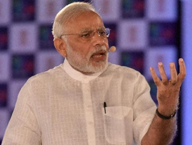 Prime Minister Narendra Modi speaks at the second anniversary celebrations of MyGov, in New Delhi on Saturday.