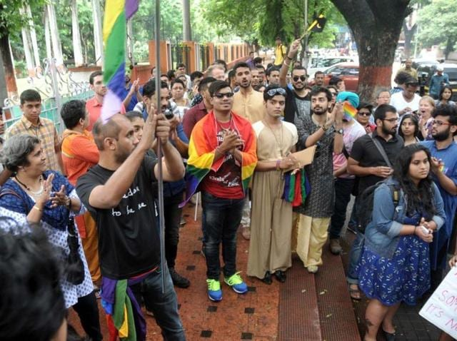 People take part in the sixth edition of the LGBTmarch in Pune on  Sunday. 'Inclusivity at workplace' was the theme for this procession
