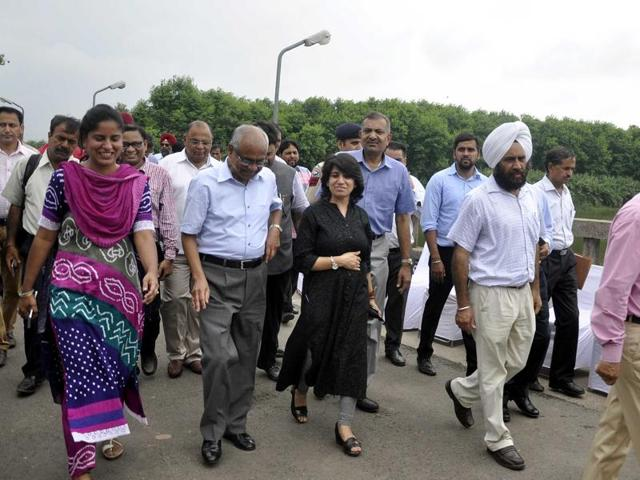 A team from the Punjab and Haryana high court during a visit to the Sukhna Lake in Chandigarh on Saturday.