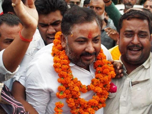Expelled BJP leader Dayashankar Singh was greeted by supporters when released from Mau district jail on Sunday morning.