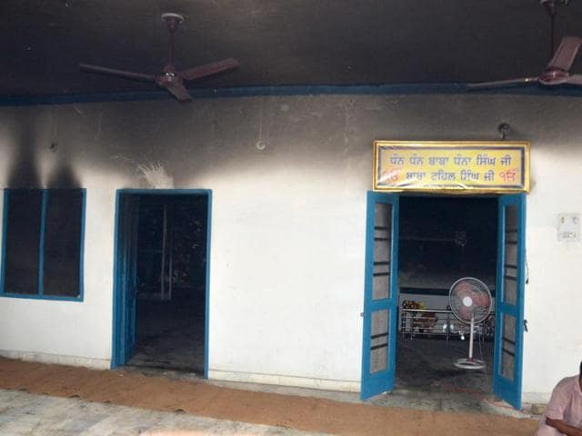The gurdwara at Baba Tehal Singh Nagar, Amritsar, where two 'birs' were destroyed in a fire on Saturday.