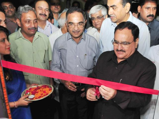 Union health minister Jagat Prakash Nadda inaugurating generic pharmacy at PGI in Chandigarh on Saturday.