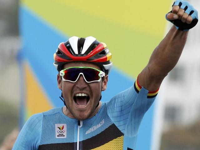 Greg van Avermaet's gold has much to do with good fortune as race leader Vincenzo Nibali of Italy, a former Tour de France and Giro d'Italia winner, and Colombia's Sergio Henao fell on the last descent.