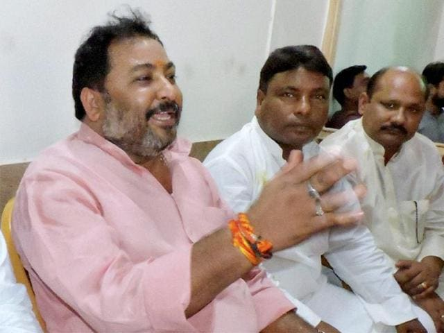 File photo of expelled  BJP leader Daya Shankar Singh  (extreme left, in pink kurta). Singh was arrested and subsequently granted bail in a case for making derogatory comments about BSP chief Mayawati.