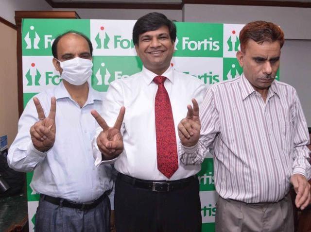 Mohal Lal (right) at Fortis Hospital, SAS Nagar, on Saturday.