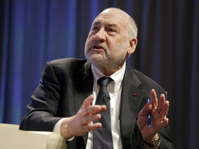 Economist Joseph Stiglitz speaks at the 2016 IMF World Bank Spring Meeting in Washington.