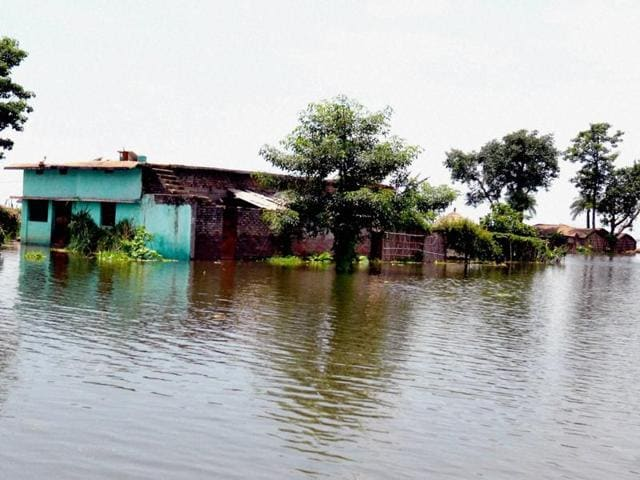 A house submerged in floodwaters in Nawada village in Bihar.