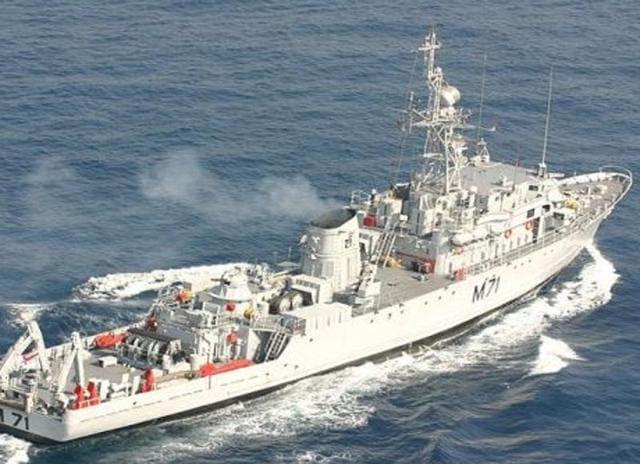 File photo of  INS Kozhikode - the Pondicherry Class minesweepers of the Indian Navy.