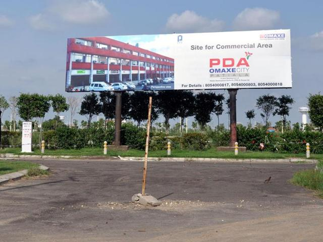 A view of the PDA-OMAXE City on Sirhind road in Patiala.