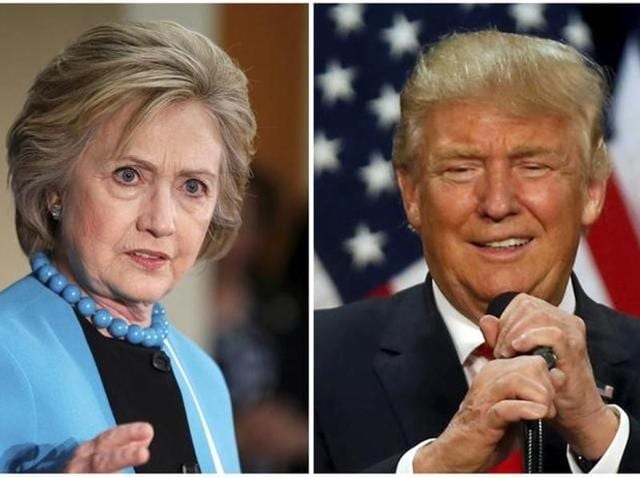 A combination photo shows US Democratic presidential candidate Hillary Clinton (L) and Republican US presidential candidate Donald Trump (R)
