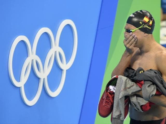 Spain's Miguel Duran Navia cries after a false start but allowed to compete again in a heat of the men's 400m freestyle in Rio on Saturday.