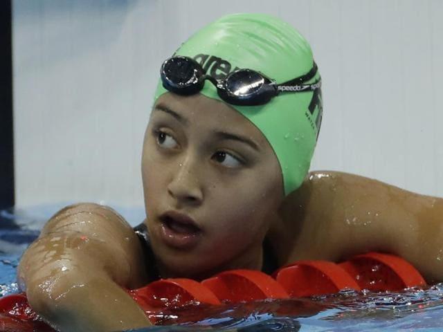 Nepal's Gaurika Singh looks up after winning a heat of the women's 100-meter backstroke.