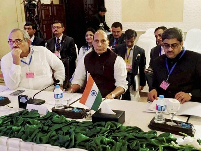 Union home minister Rajnath Singh along with the Indian delegation attends the first working session of Saarc home ministers' conference in Islamabad.