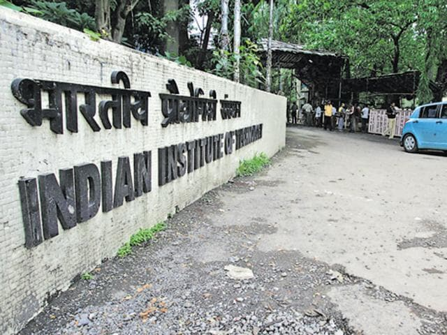 A view of the wall surrounding IIT-Bombay.(Anand Shinde/HT Photo)