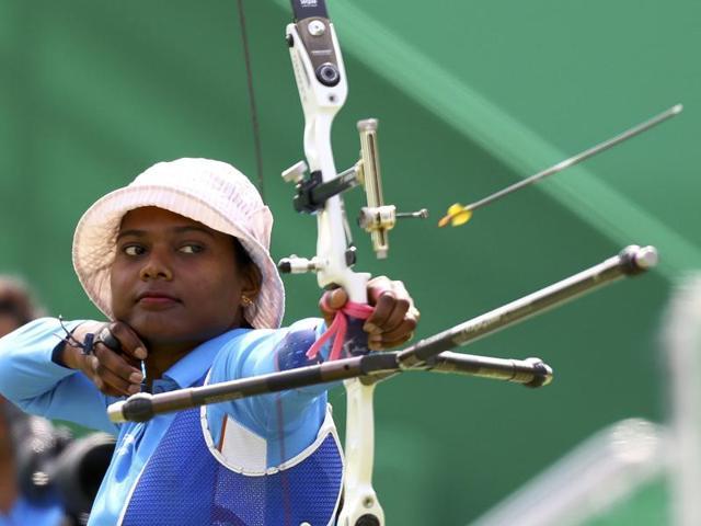 Laxmirani Majhi (IND) of India competes at Rio 2016 Olympics.