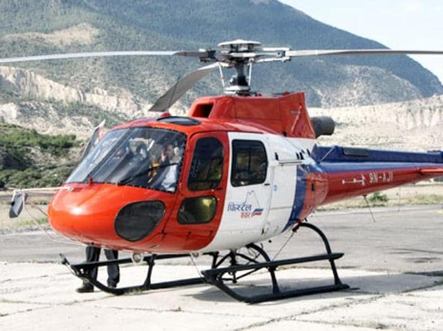 One of the helicopters flown by Fishtail Air.