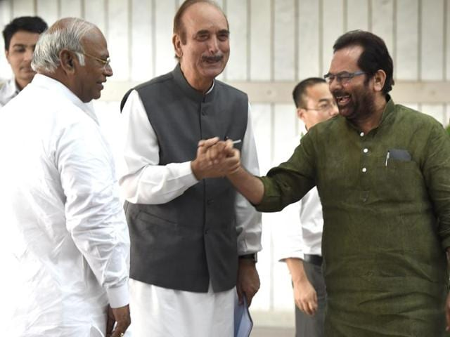 File photo of Congress leaders Mallikarjun Kharge, Ghulam Nabi Azad,and BJP Leader and Union Minister Mukhtar Abbas Naqavi at an all-party meeting ahead of the monsoon session, at Parliament House in New Delhi.