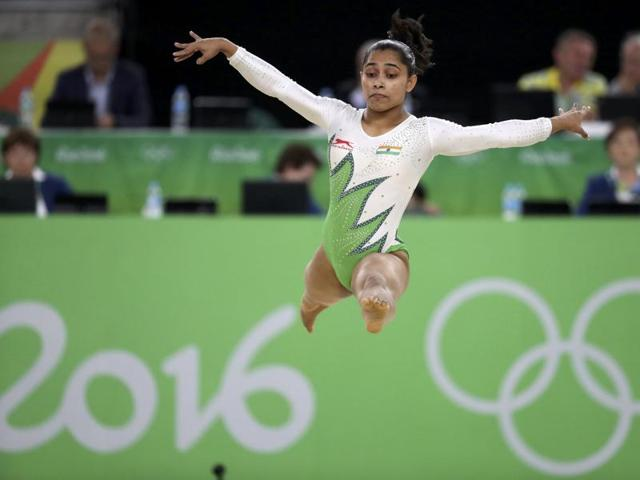 Dipa Karmakar performs on the vault during the artistic gymnastics women's qualification in Rio on Sunday.