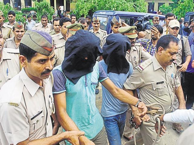Three men were arrested in the highway robbery and rape case at Bulandshahr. They were produced before a court and sent to judicial custody, in Ghaziabad on Monday.