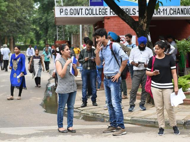 Candidates coming out after appearing UPSC civil exams at a centre in Chandigarh on Sunday, August 07, 2016.