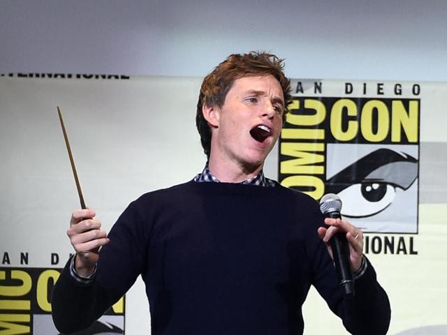 Eddie Redmayne waves a wand at the Fantastic Beasts and Where to Find Them panel on day 3 of Comic-Con International on Saturday, July 23, 2016, in San Diego.