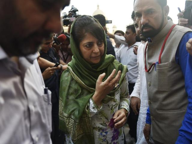 Jammu and Kashmir chief minister Mehbooba Mufti leaves after attending high-level meeting with Union home minister Rajnath Singh at North Block in New Delhi.