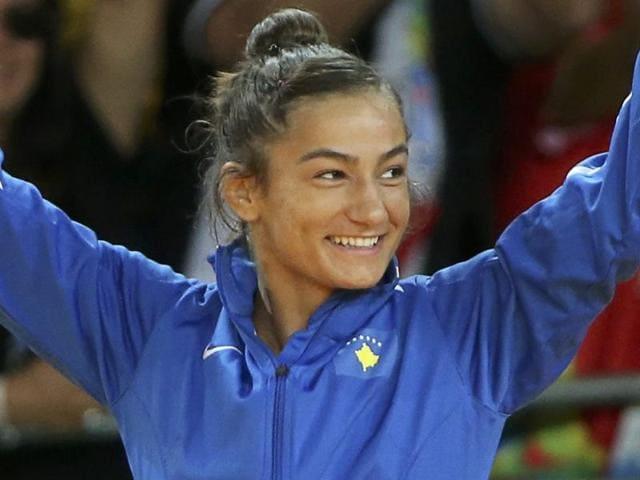 Majlinda Kelmendi (KOS) of Kosovo greets supporters at the Rio 2016 Olympics.