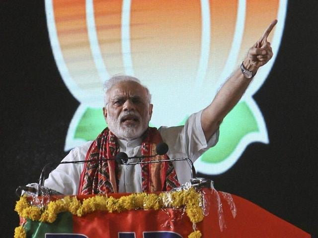 Prime Minister Narendra Modi addresses a crowd during a Bharatiya Janata Party rally in Hyderabad on Sunday.