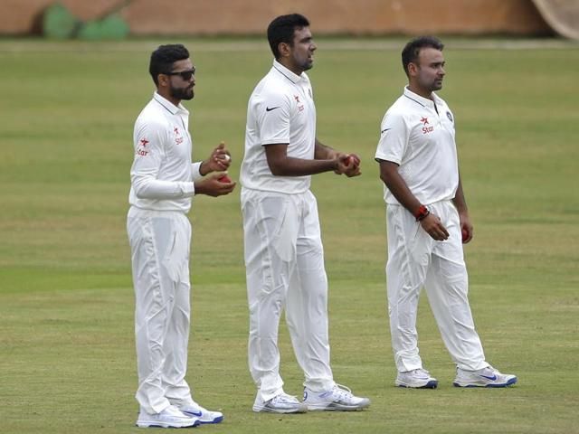 On turning pitches in the West Indies, Maninder Singh feels India should go in with three spinners, including Ravindra Jadeja (extreme left), and two seamers.