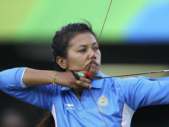Bombayla Devi Laishram (IND) of India competes at the RIo 2016 Olympics.