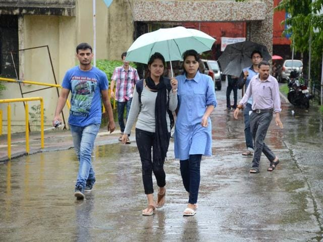 Students coming out of a exam centre after appearing in UPSC exam in Bhopal.