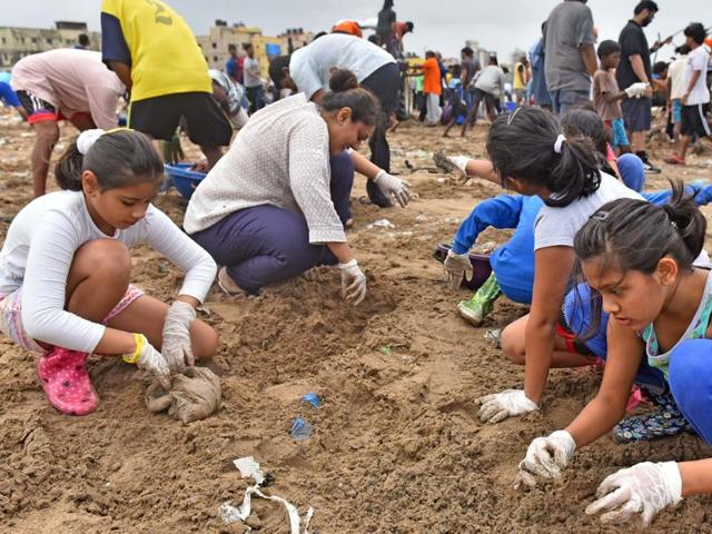 Volunteers from all walks of life participate in the Versova beach clean-up drive on Sunday.