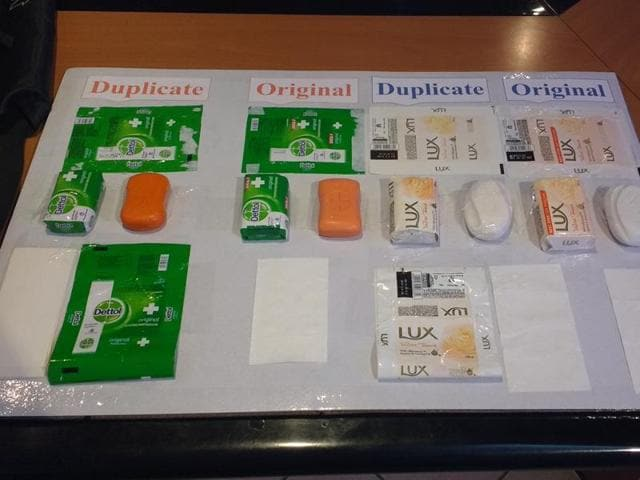 Duplicate soaps seized by the FDA on Monday.
