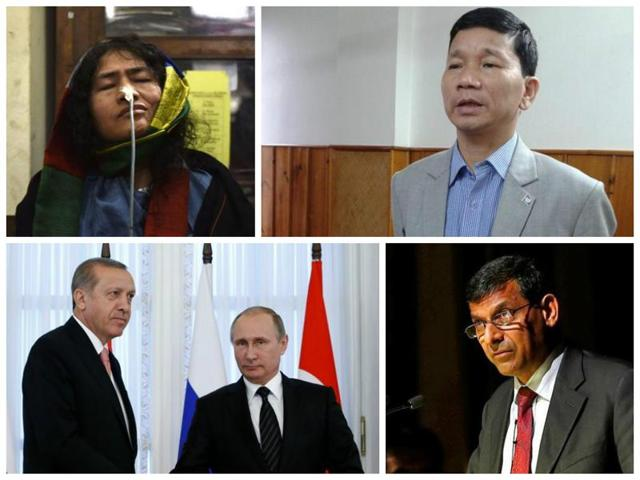 (Clockwise from top) Irom Sharmila ends her fast against Afspa, former Arunachal CM Kalikho Pul found hanging; Turkey-Russia hold talks; Rajan retains rates in monetary policy.