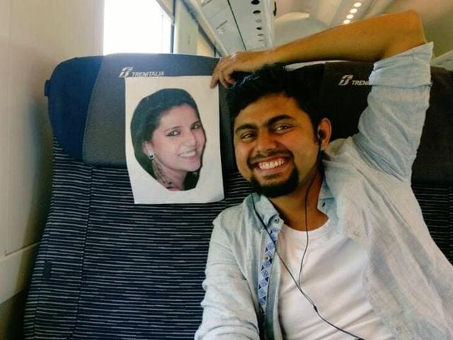 "Faizan Patel posted this picture of himself enroute to Italy, captioned, ""This is how I'm travelling with my wife."""
