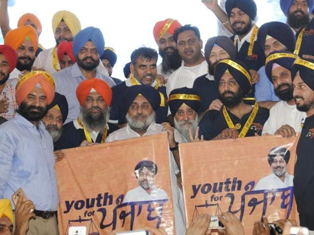 Deputy chief minister Sukhbir Singh Badal releasing the 'Youth for Punjab' poster in Chandigarh on Monday.