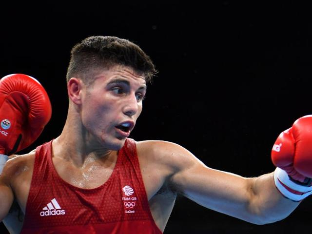 Great Britain's Josh Kelly fighting his Egyptian counterpart during the Men's Welter (69kg) match at the Rio 2016 Olympic Games in Rio de Janeiro.