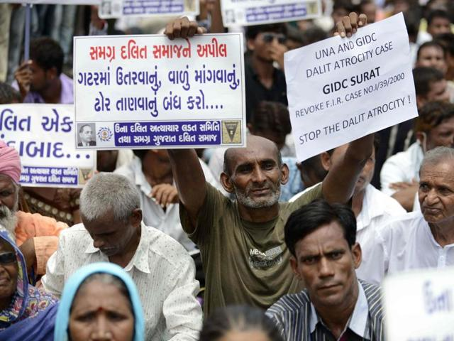 Members of the Dalit community protesting against attack on Dalits in the Gujarat town of Una in Ahmedabad on July 31, 2016. Two days after PMModi denounced cow vigilantes, the home ministry issued a notification asking the states to not tolerate anyone taking the law in hand in the name of cow vigilantism.