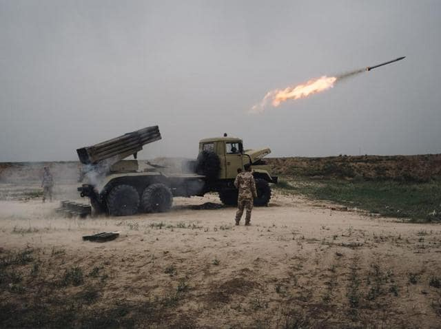 A rocket is fired from a rocket launcher outside Makhmour, about 75 km east of Mosul, Iraq.