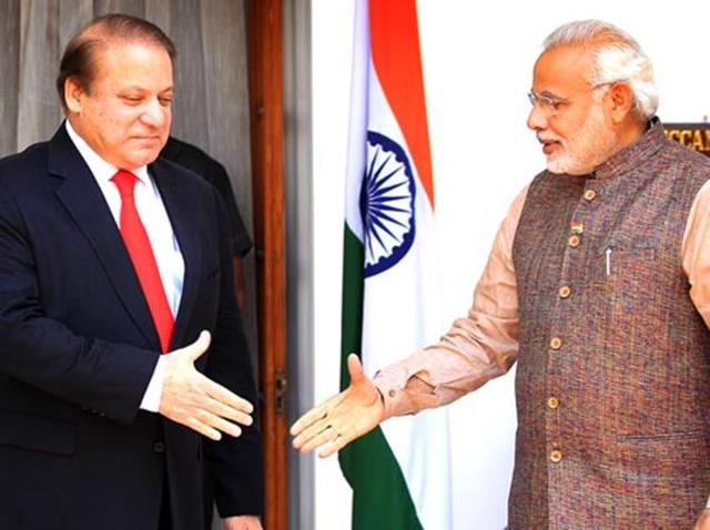 Pakistan Prime Minister Nawaz Sharif shakes hand with Prime minister Narendra Modi prior to a meeting at Hydrabad House in New Delhi.
