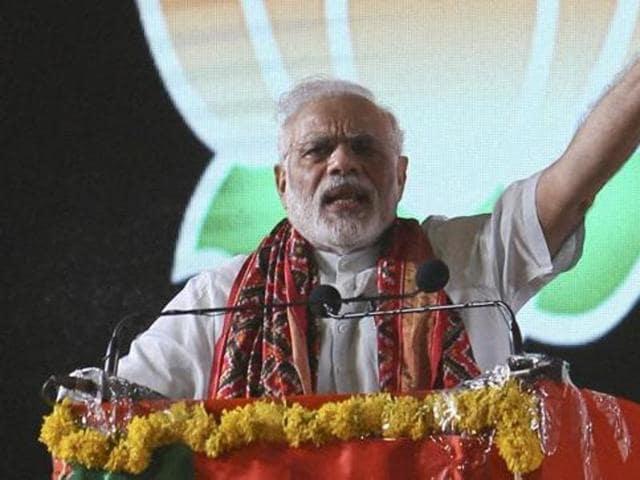 Prime Minister Narendra Modi addresses a rally in Hyderabad.