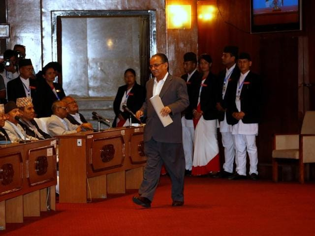 """File photo of Nepal Prime Minister Pushpa Kamal Dahal """"Prachanda"""" at the parliament earlier this month."""