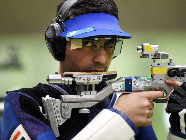 Indian's shooter Abhinav Bindra during the Men's 10m Air Rifle qualifying round at Rio Olympics 2016 on Monday.