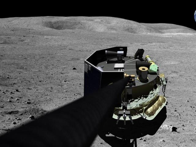 This image provided by Moon Express shows an illustration of the company's landing vehicle on the surface of Earth's moon.