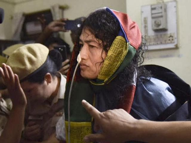 Irom Sharmila arrives at Cheirap Court at Imphal on Tuesday.