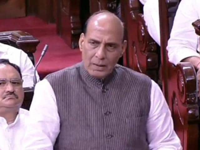 Home minister Rajnath Singh speaks in Rajya Sabha during a discussion on Kashmir.