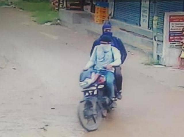 A CCTV grab of the attackers released by the police in Jalandhar on Monday.